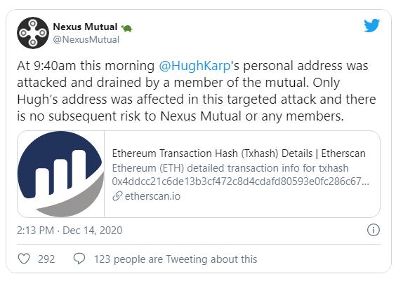 $8m worth of NXM tokens stolen